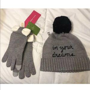 Kate Spade Hat & Gloves Matching Set NWT